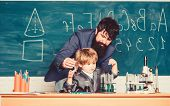 Teacher And Child School Classroom. Chemistry Lesson. Lab Experiment. Primary School. Basic Educatio poster