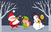 Xmas Characters With Musical Instruments Singing Songs. Caroling Of Santa Claus, Elf And Snowman. Tr poster