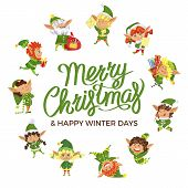 Merry Christmas And Happy Winter Days Postcard Decorated By Funny Elves In Round Shape. Winter Holid poster
