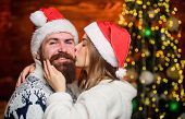 Family Tradition. Christmas Time. Loving Couple Cuddle Christmas Tree Background. Romantic Feelings. poster
