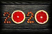 Healthy Holidays Food And Diet. Number 2020 Made From Fruits And Nuts. New Year And Christmas 2020 D poster