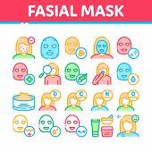 Facial Mask Healthcare Collection Icons Set Vector Thin Line. Container Of Vitamin Facial Cream, Cos poster
