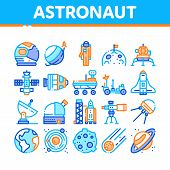 Astronaut Equipment Collection Icons Set Vector Thin Line. Astronaut Spacesuit And Helmet, Shuttle A poster