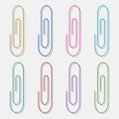Realistic Paper Clips. Isolated Colored Fasteners, School Supplies, Metal Laptop Mounts, Holders. Ve poster
