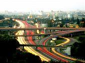 Crossroad Of Roads In Black Asphalt On Open Urban Nature. Big Crossroad Of Roads Under Clean Beautif poster