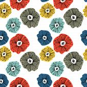 Seamless Pattern With Abstract Flowers. Avan-garde Cute Cartoon Background. Abstractionism Style. poster