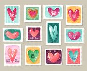 Valentines Day Cartoon Hearts Stamps Set. Set Of Postage Stamps With Decorative Hearts And Lettering poster