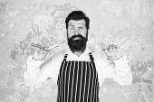 Bearded Hipster Shaving. Vintage Barber. Barber In Apron Hold Hairdresser Equipment Blade And Scisso poster