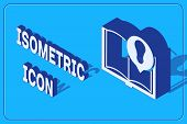 Isometric Interesting Facts Icon Isolated On Blue Background. Book Or Article And Light Bulb. Vector poster