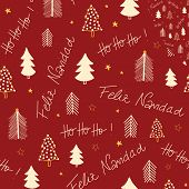 Feliz Navidad And Hoho Hand Lettering And Christmas Trees Seamless Vector Pattern. Repeating Backgro poster