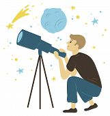 Hobby Of Researching And Discovering Planets, Milky Way And Moon Or Asteroid. Side View Of Man Chara poster
