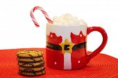 Christmas Cookies and Hot Chocolate with Marshmallows.  Isolated on white. Room for text. People wor poster