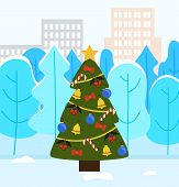 Christmas Tree Decorated By Toys Ball And Bell. Traditional Winter Holiday Tree In Urban Winter Park poster