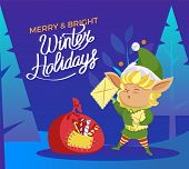 Merry And Bright Winter Holidays Calligraphic Inscription. Greeting Card With Elf Holding Letter. Xm poster