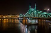Night View Of Liberty Bridge, Capital Of Hungary. poster
