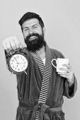 Improve My Morning Routine. Hard Morning. Hipster Drink Morning Coffee. Bearded Man Coffee Cup. Wake poster