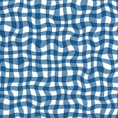 Distorted Gingham Blue And White Wavy Line Pattern poster