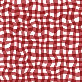Distorted Gingham Red And White Wavy Line Pattern poster