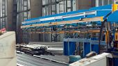 The Industrial Device For Sheet Metal Bending By High Precision Machine In Factory. Line Machine Con poster