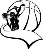 Girl Basketball Shooter with Pennant