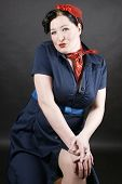 picture of rockabilly  - Lovely girl in rockabilly fashion posing sexy - JPG