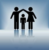 pic of father child  - A mother and father hold up arms over their child to form a roof of security and protection a ceiling of safety on a blue background 