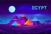 Giza Plateau Nigh Landscape With Egyptian Pharaohs Pyramids Complex Illuminated With Moonlight Neon  poster