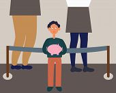 Little Child With Piggy Moneybox Savings In Bank Queue. Child Finance Education Concept. Flat Cartoo poster