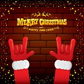 Vector Cartoon Santa Claus Rock N Roll Style With Golden Greeting Text On Brick Wall Background With poster