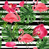Flamingo Seamless Pattern. Summer Tropical Background With Orchids, Monstera And Palm Leaves. poster
