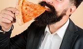 Tasty Pizza At Restaurant. Lunch Or Dinner. Bearded Man Eating Slice Of Pizza. Bearded Man Eating Pi poster