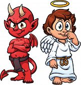 pic of loincloth  - Cartoon little angel and devil - JPG