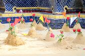 Group Of Sand Pagoda On Temple In Songkran Festival, Sand Pagoda Is An Ancient Tradition Of The Anci poster