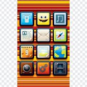 stock photo of video game  - Funky Cartoon Phone Interface - JPG