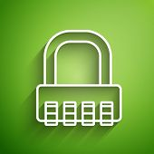 White Line Safe Combination Lock Icon Isolated On Green Background. Combination Padlock. Security, S poster