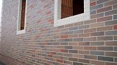 Brick House Under Construction. Colored Brick House Under Construction. Brick House Construction poster