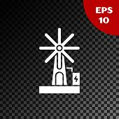 White Wind Turbine Icon Isolated On Transparent Dark Background. Wind Generator Sign. Windmill For E poster