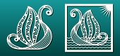 Laser Cut Template. Fantasy Boat, Sea Waves. For Wood Or Metal Cutting, Engraving, Fretwork, Paper A poster