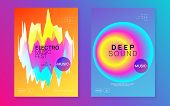 Music Poster Set. Fluid Holographic Gradient Shape And Line. Electronic Sound. Night Dance Lifestyle poster