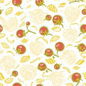 Vector Tomato Pasta Noodle Pattern. Homemade Delicious Hand Drawn Noodle Pattern On Spotted Backgrou poster