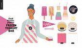 Frozen Yoghurt Bar - Small Business Graphics - Shop Owner And Range -modern Flat Vector Concept Illu poster
