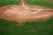 stock photo of infield  - Baseball Infield at Home Plate - JPG