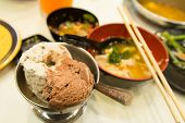 stock photo of wagyu  - Ice cream chocolate on food Sukiyaki background - JPG
