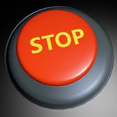 foto of dimentional  - Stop word on three dimentional rendered button - JPG