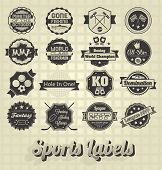 stock photo of octagon  - Collection of retro style mixed sports labels and icons - JPG