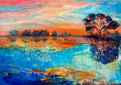 image of acrylic painting  - Original oil painting showing beautiful lakesunset landscape - JPG