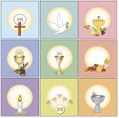 stock photo of eucharist  - a illustration of some religion icons isolated - JPG
