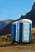 picture of porta-potties  - Portable toilet over 7000 feet on Axalp in Switzerland - JPG