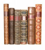image of leather-bound  - A row of old leather bound books isolated on a white background - JPG