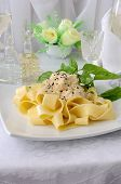 Italian Pasta - Pappardelle With Chicken Fillet In A Creamy Sauce